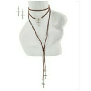 Vegan Leather & Cross Choker Lariat Necklace